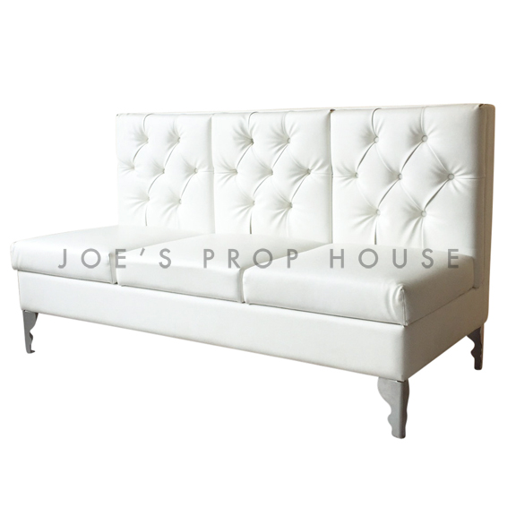 Glam Tufted Low Back Banquette White W66in x D30in x H35in