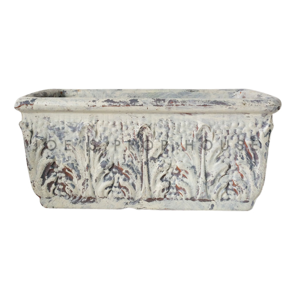 Distressed Rectangular Tuscan Clay Pot Ivory/Grey