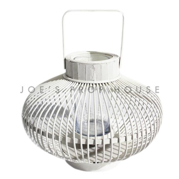 Gardenia Wicker Lantern White Small