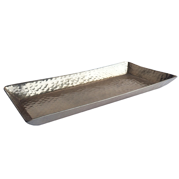 Hammered Metal Rectangular Tray Matte Gold