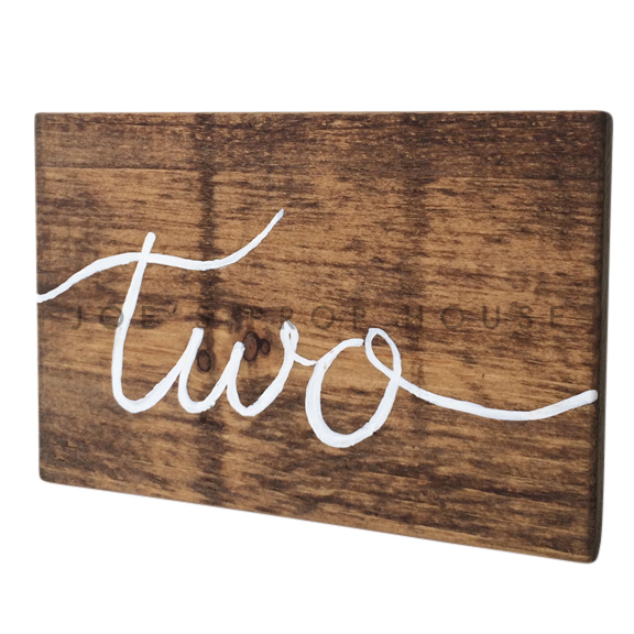 Wooden Table Number Block TWO W7in x H5in