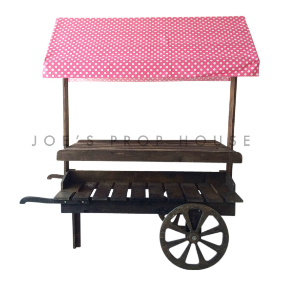 Wooden Market Cart w/Polka Dot Pink and White Awning