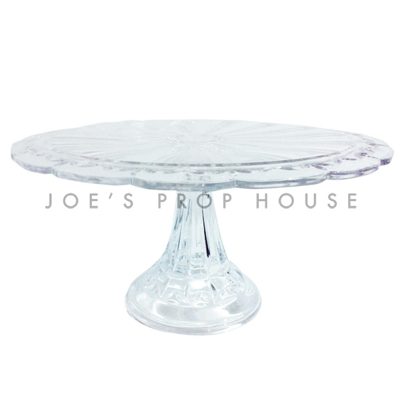 Emilia Clear Scallop Glass Cake Stand D11in