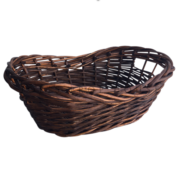 Cole Kidney Wicker Basket LARGE Dark Brown