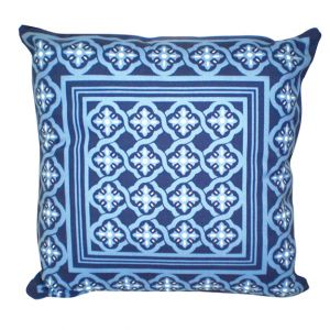 Azalea Print Accent Pillow Blue