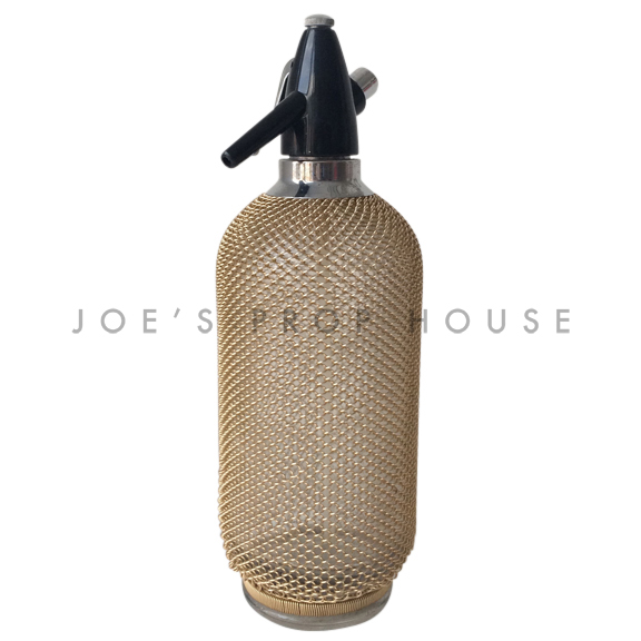 Gold Metal Mesh Soda Spritzer Bottle