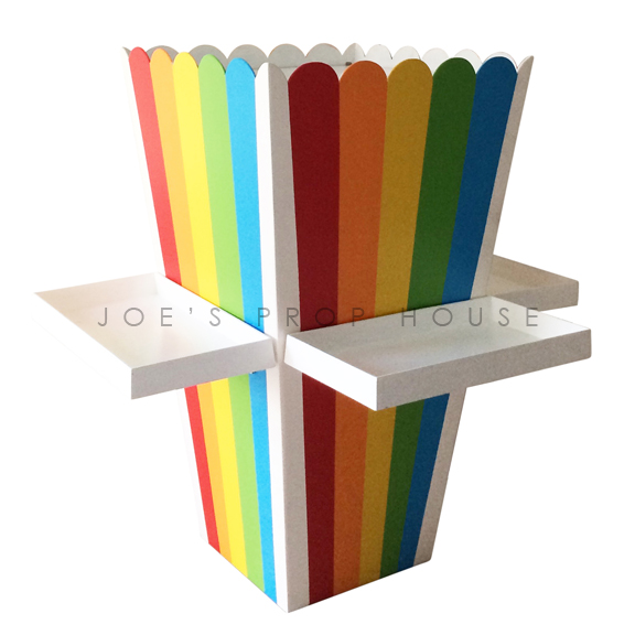 Giant Rainbow Stripe Popcorn Box w/Trays