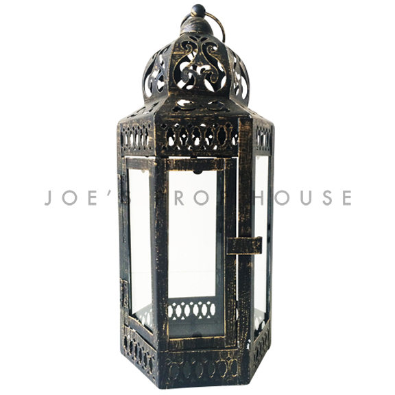 Amali Distressed Metal Lantern LARGE Black