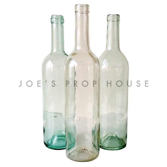 Assorted Clear Glass Wine Bottles / No Labels