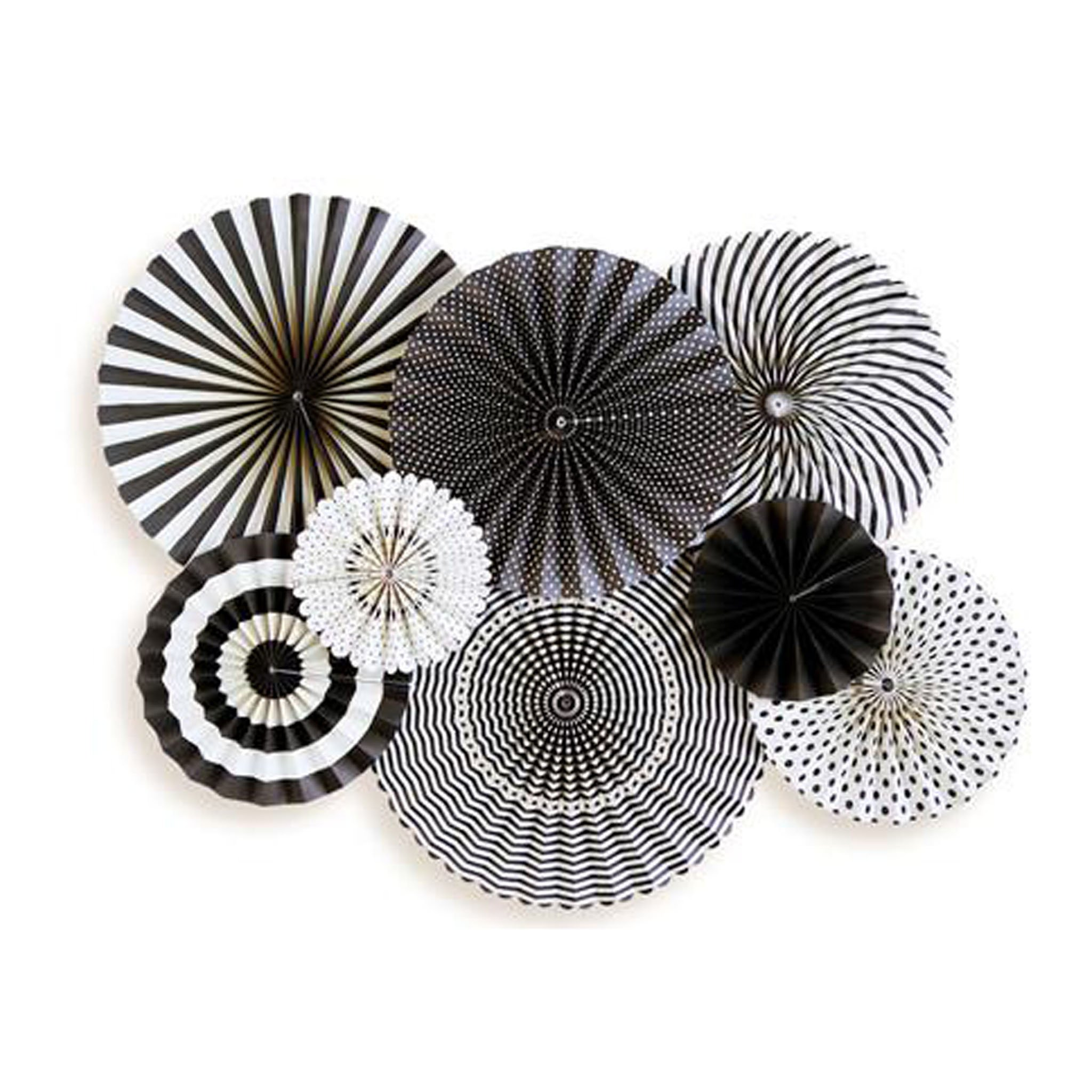 BUY ME / NEW ITEM $24.99 each Black & White Pack of 8 Paper Party Fans