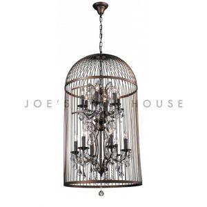 Lustre Vintage en cristal cage à oiseaux