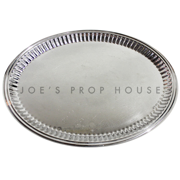 Elizabeth Engraved Oval Silver Serving Tray