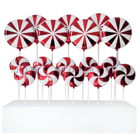 Giant Red / White Lollipop Display Box ( Includes 7 Large + 10 Small Lollipops )
