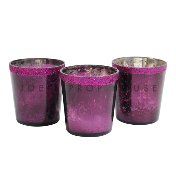 Mercury Glass Votive Cups Purple