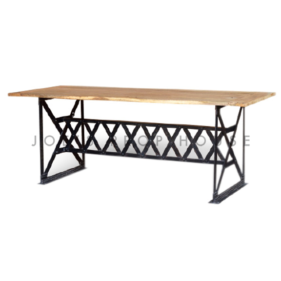 Crosshatch Industrial Dining Table L77in x D37in x H30in