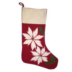 BUY ME / USED ITEM $12.99 Pointsettia Christmas Stocking
