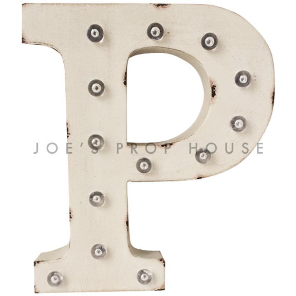 12in Ivory Metal Marquee Letter P