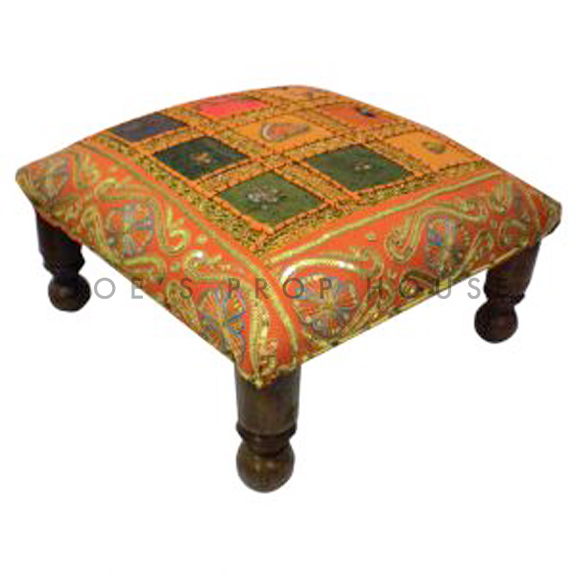 Omayma Patchwork Low Bench Orange W16in x D16in x H7in