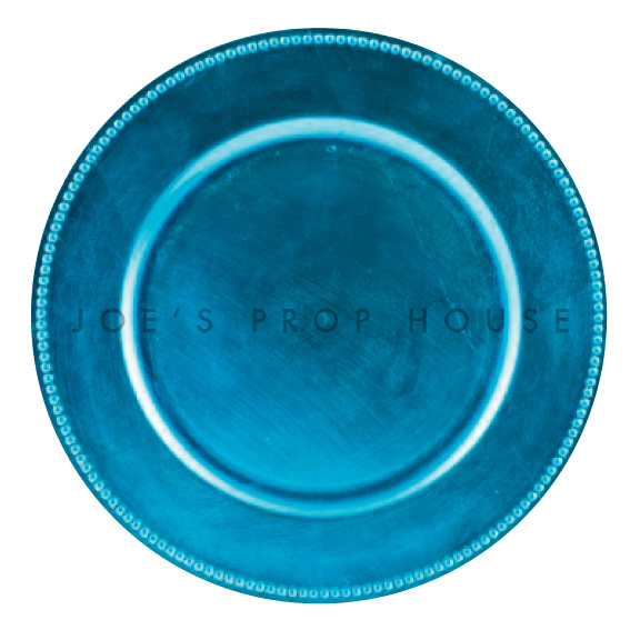 Aqua Blue Beaded Charger Plate
