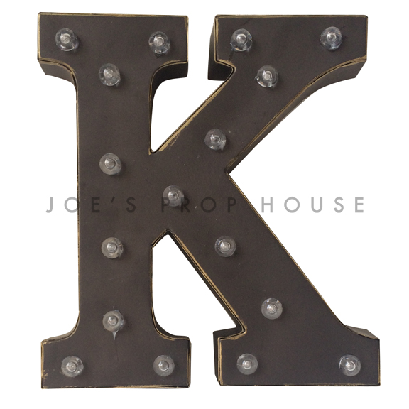 12in Charcoal Metal Marquee Letter K