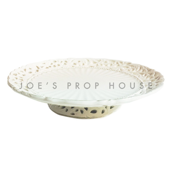 Decoupage Round Porcelain Cake Stand Ivory