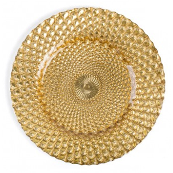 Honeycomb Gold Glass Charger Plate