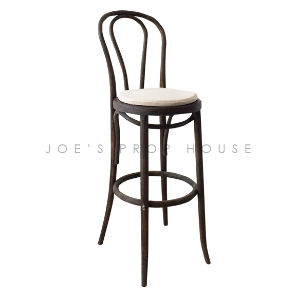 French Bistro Bar Stool w/Linen Cushion