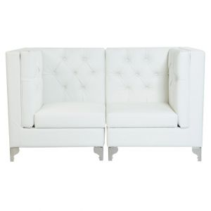 Glam Tufted Sectional Loveseat White