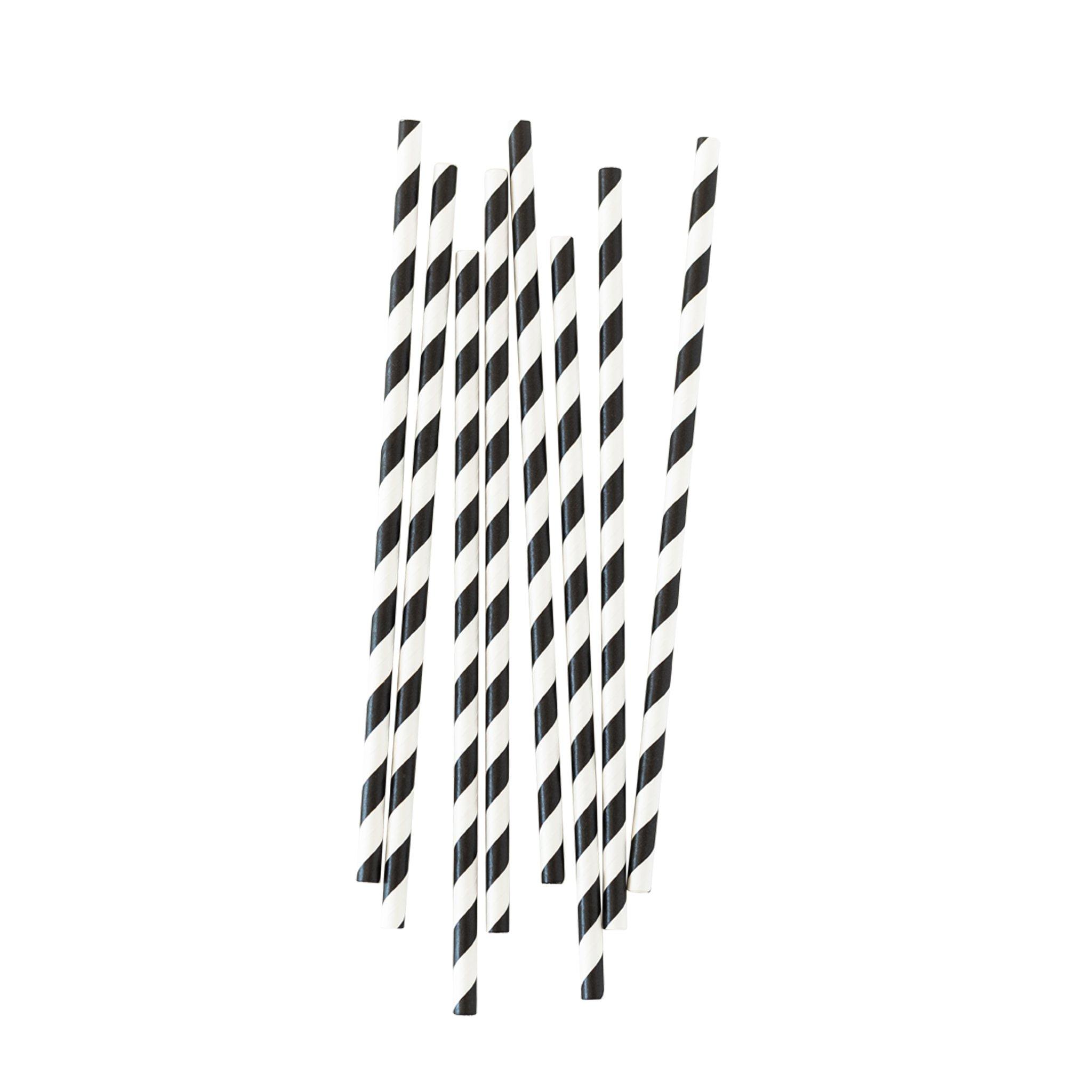 BUY ME / NEW ITEM $1.99 each Biodegradable Black & White Stripe Paper Straws - 25 Pack