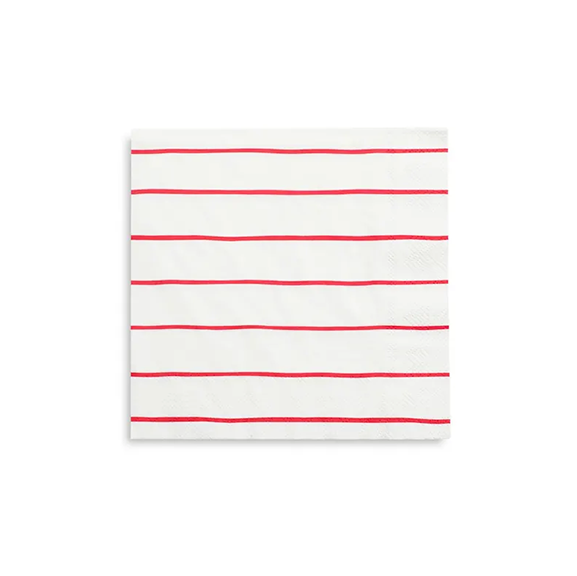 BUY ME / NEW ITEM $6.99 each Red Frenchie Stripe Large Napkins - 16 Pack