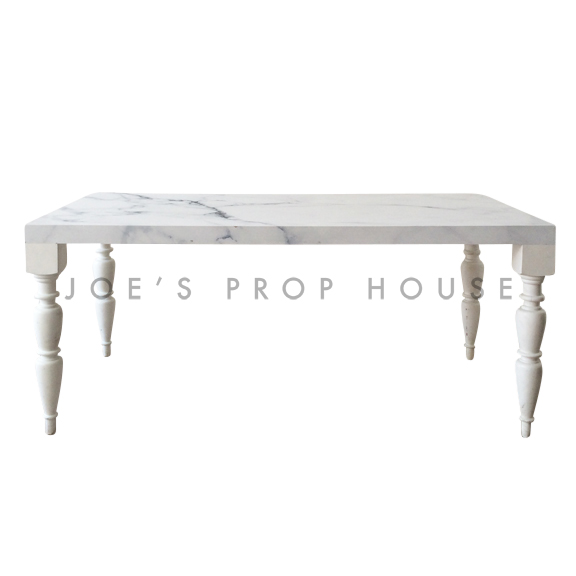 Bolster Faux Marble Top Rectangular Dining Table White L72in x D36in x H30in