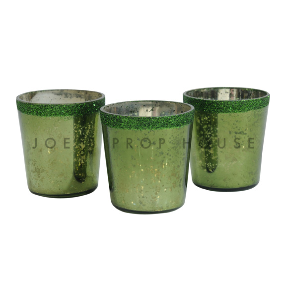 Mercury Glass Votive Cups Moss Green
