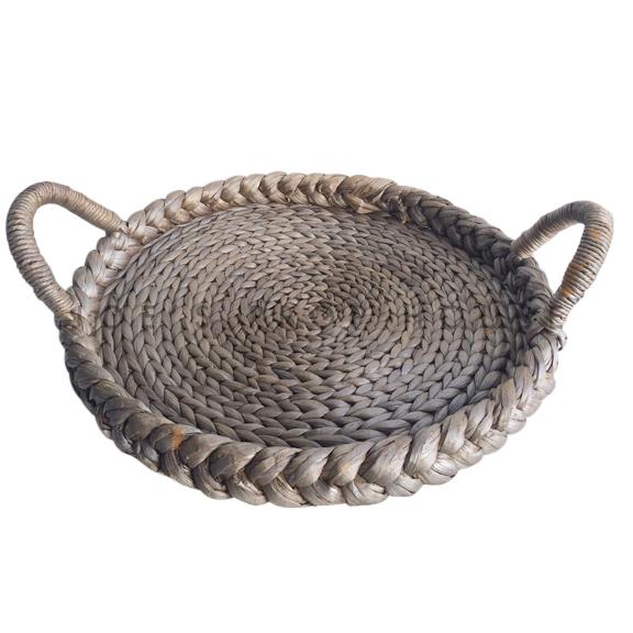 Braided Round Flat Basket w/Handles