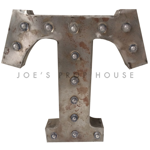 12in Galvanized Metal Marquee Letter T