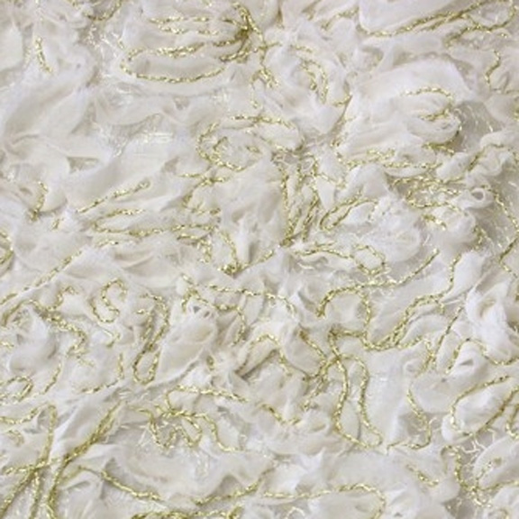 Ivory Fil D'Or Chiffon Linen Overlay Round 132in