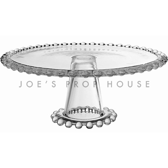 Beatrice clear beaded cake stand MEDIUM, clear D10.5in