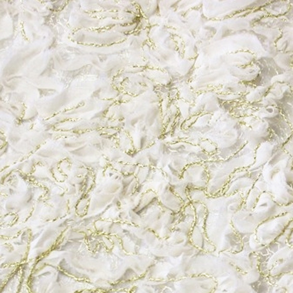 Ivory Fil D'Or CHIFFON OVERLAY Tablecloth Round 96in