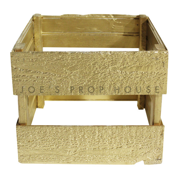 Square Wooden Crate ( Open Bottom ) Gold