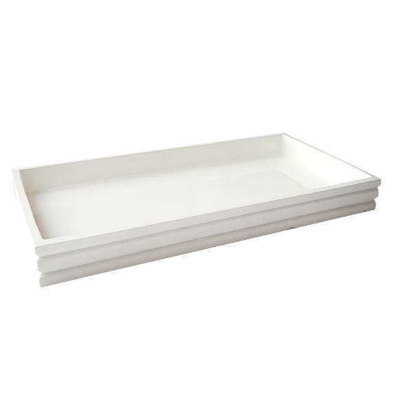 Ridge Rectangular Serving Tray SMALL White