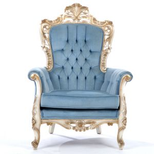 Empire Tufted Velour Armchair Blue