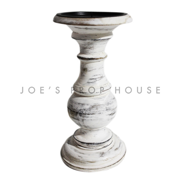 Whitewash Pillar Candlestick Medium