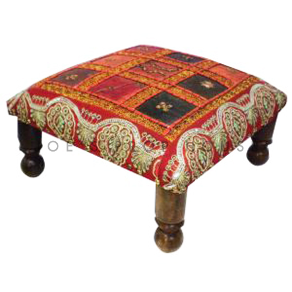 Redouane Patchwork Low Bench Red W16in x D16in x H7in