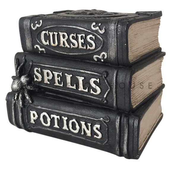 Curses Spells and Potions Black Faux Book Stack