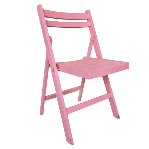 Pink Wood Folding Chair