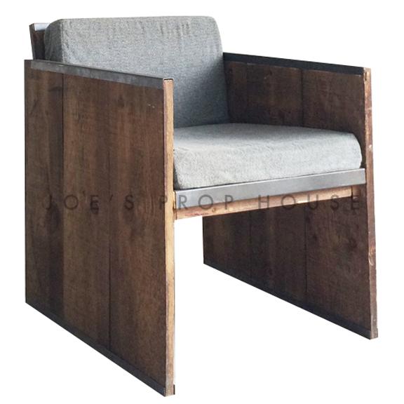 Raw Wood Armchair w/Grey Cushions