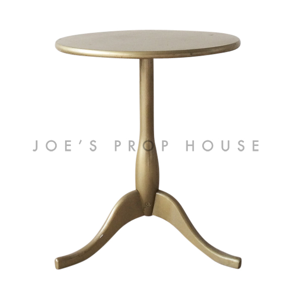 Round Pedestal End Table Gold