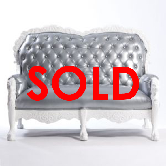 BUY ME / USED ITEM Tufted Silver Loveseat