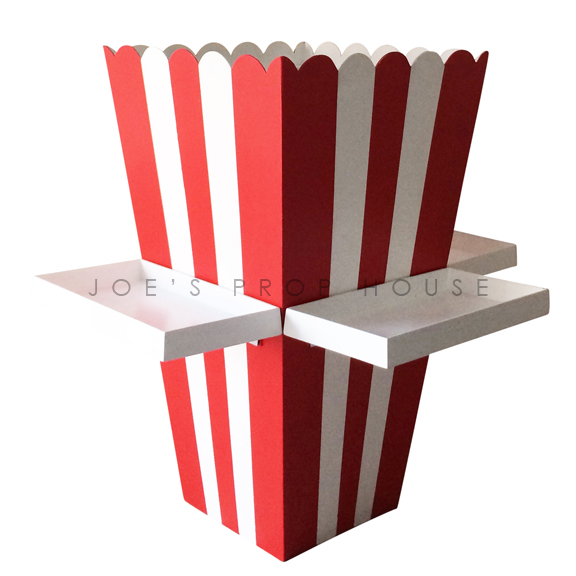 Giant Red & White Striped Popcorn Box w/Trays