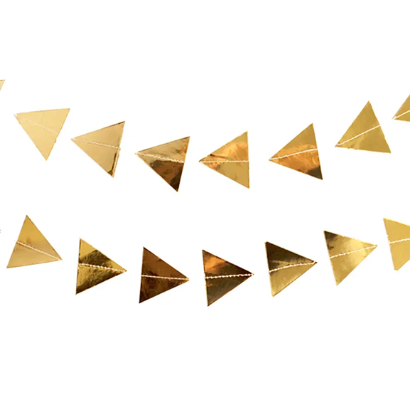 BUY ME / NEW ITEM $12.99 each Gold Foil Triangles 10ft Paper Garland