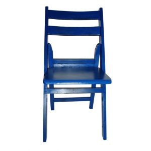 Blue Wood Folding Chair